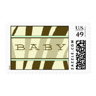 Brown Zebra Print with Green Baby Postage Stamp