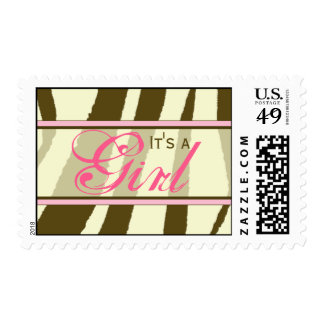 Brown Zebra Print with Pink Baby Postage Stamp