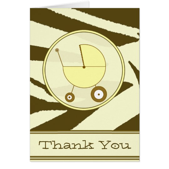 Brown Zebra Print / Yellow Baby Carriage Thank You Card