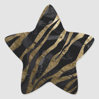 Brown zebra star sticker
