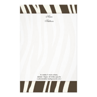 Brown Zebra Stripes background color!! Stationery