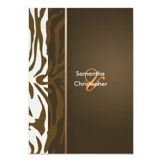 Brown Zebra stripes/Wedding Invitations