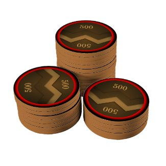Brown Zigzag Design Poker Chip Set