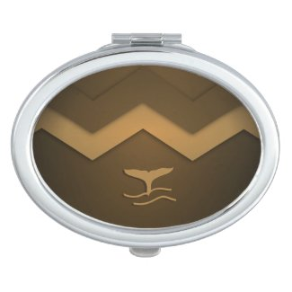 Brown Zigzag Whale Tail Compact Mirrors For Makeup