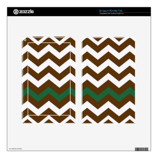 Brown Zigzags With Green Stripe Kindle Fire Skin