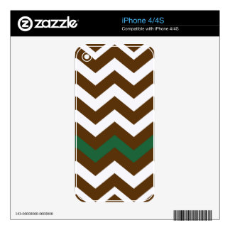 Brown Zigzags With Green Stripe Skins For iPhone 4