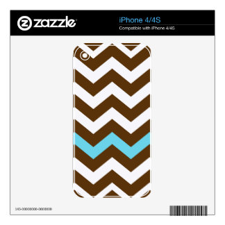 Brown Zigzags With Light Blue Stripe Skins For iPhone 4S