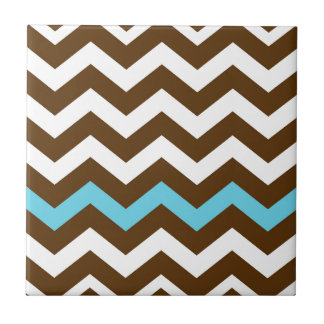Brown Zigzags With Light Blue Stripe Tile