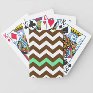 Brown Zigzags With Mint Green Stripe Bicycle Playing Cards