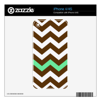 Brown Zigzags With Mint Green Stripe Decals For iPhone 4