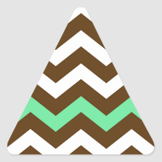 Brown Zigzags With Mint Green Stripe Triangle Sticker