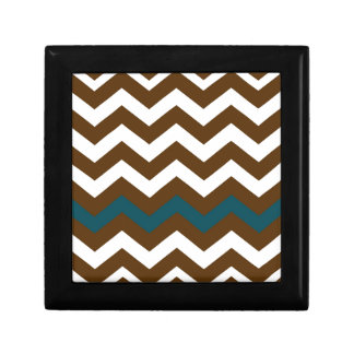 Brown Zigzags With Slate Blue Striped Gift Box