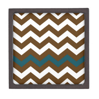 Brown Zigzags With Slate Blue Striped Jewelry Box