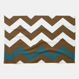 Brown Zigzags With Slate Blue Striped Kitchen Towel