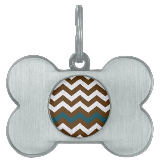 Brown Zigzags With Slate Blue Striped Pet Name Tag