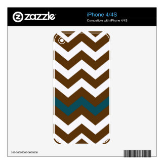 Brown Zigzags With Slate Blue Striped Skins For iPhone 4S