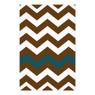 Brown Zigzags With Slate Blue Striped Stationery