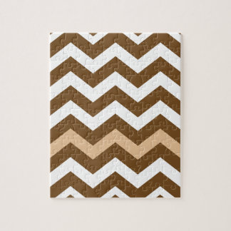 Brown Zigzags With Tan Striped Jigsaw Puzzle