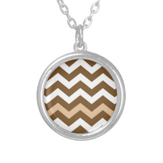 Brown Zigzags With Tan Striped Round Pendant Necklace