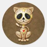 Brown Zombie Sugar Kitten Classic Round Sticker