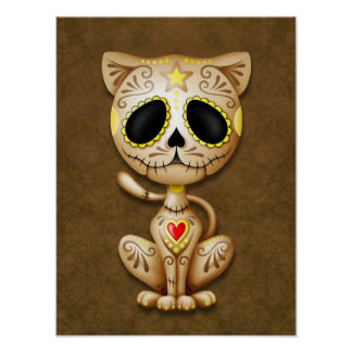 Brown Zombie Sugar Kitten Poster