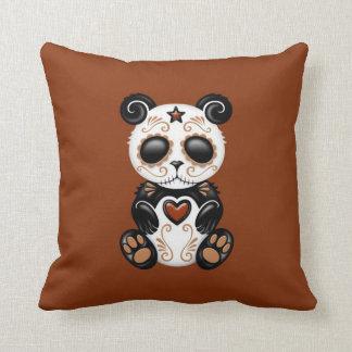 Brown Zombie Sugar Panda Throw Pillow
