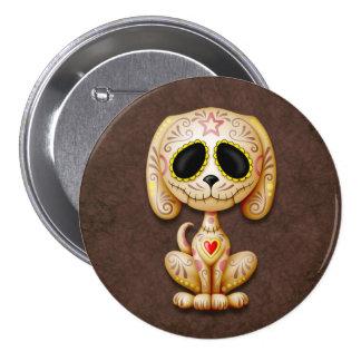 Brown Zombie Sugar Puppy Dog Pinback Button