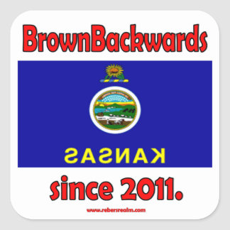 BrownBackwards Square Stickers