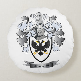 Browne Coat of Arms Round Pillow