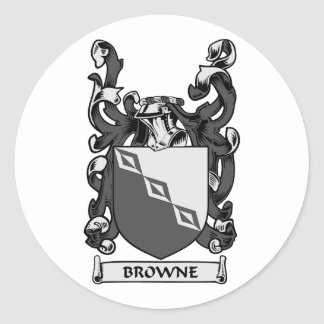 BROWNE Coat of Arms Round Stickers