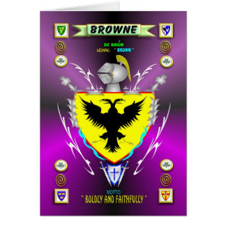 BROWNE FAMILY COAT OF ARMS CREST AND SHIELD CARD