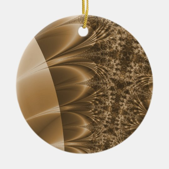 Browned Ivory Trace Fractal Ceramic Ornament