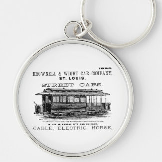 Brownell Car Company 1890 Silver-Colored Round Keychain