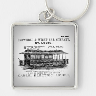 Brownell Car Company 1890 Silver-Colored Square Keychain