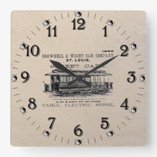 Brownell Car Company 1890 Square Wall Clock