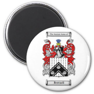 Brownell Family Crest 2 Inch Round Magnet