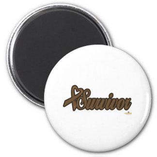 BrownHeartRibbonSurvivor Imán Redondo 5 Cm