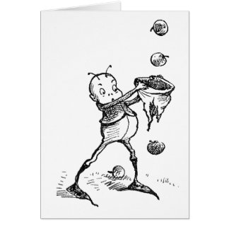 Brownie Catching Apples in Hat Greeting Card