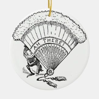 Brownie Crouched Behind Fan Ceramic Ornament