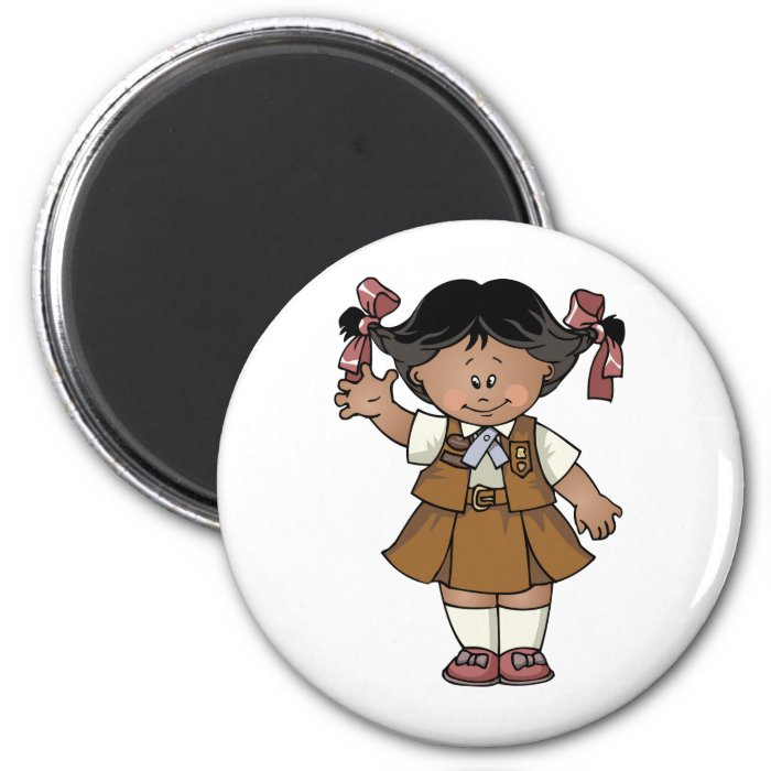 Brownie Dark Skin 2 Inch Round Magnet