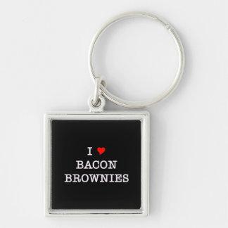 Brownie del amor del tocino I Llavero Cuadrado Plateado