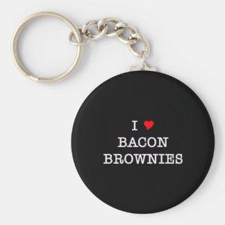 Brownie del amor del tocino I Llavero Redondo Tipo Pin