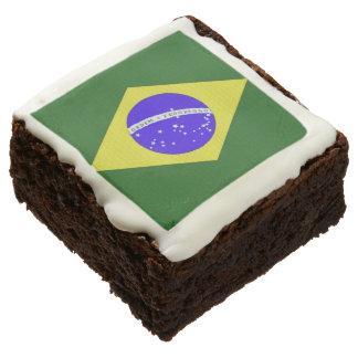 Brownie del chocolate de la bandera del Brasil