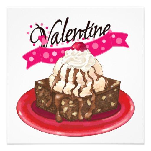Brownie del dulce de azúcar y helado invitacion personal