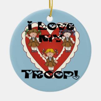 Brownie I Love My Troop Heart Ceramic Ornament