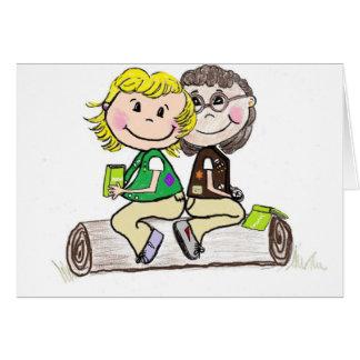 Brownie menor del girl scout al aire libre tarjeta de felicitación
