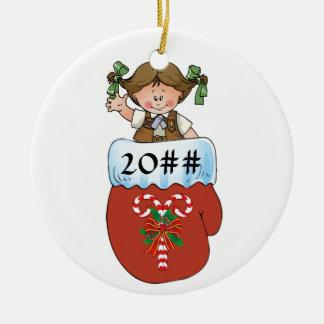 Brownie Mitten Brunette Ceramic Ornament