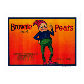 Brownie Pear Crate Label Post Card
