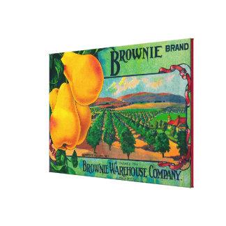 Brownie Pear Crate LabelCashmere, WA Canvas Print