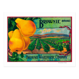 Brownie Pear Crate LabelCashmere, WA Postcard
